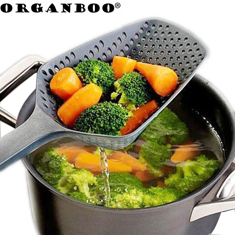 ORGANBOO 1PC Kitchen Accessories Gadgets Nylon Strainer Scoop Colander Drain Veggies Water Scoop Gadget Cooking Tools Black(China)
