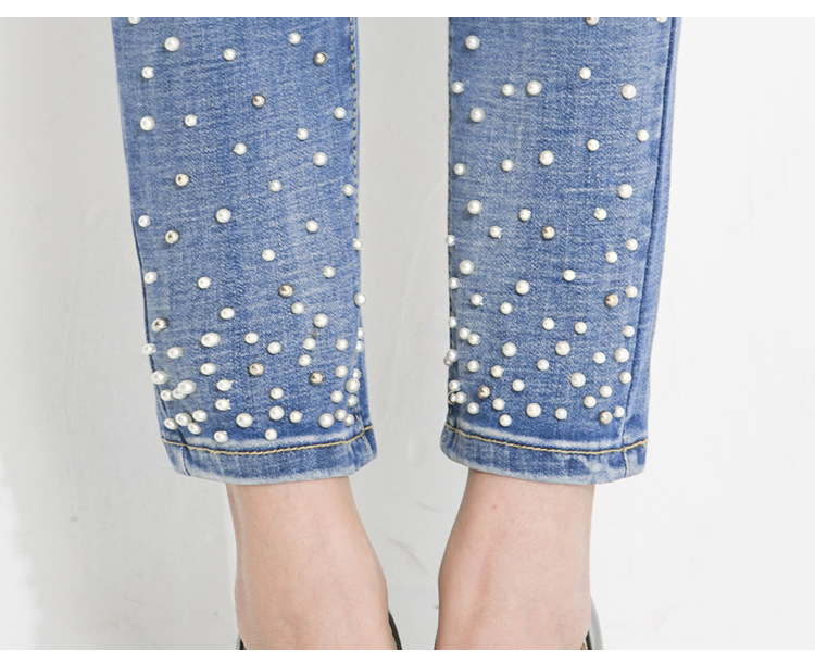 KSTUN Jeans for Women Embroidered Flares Beaded Straight Slim Stretch High Waist Female Calf-Length