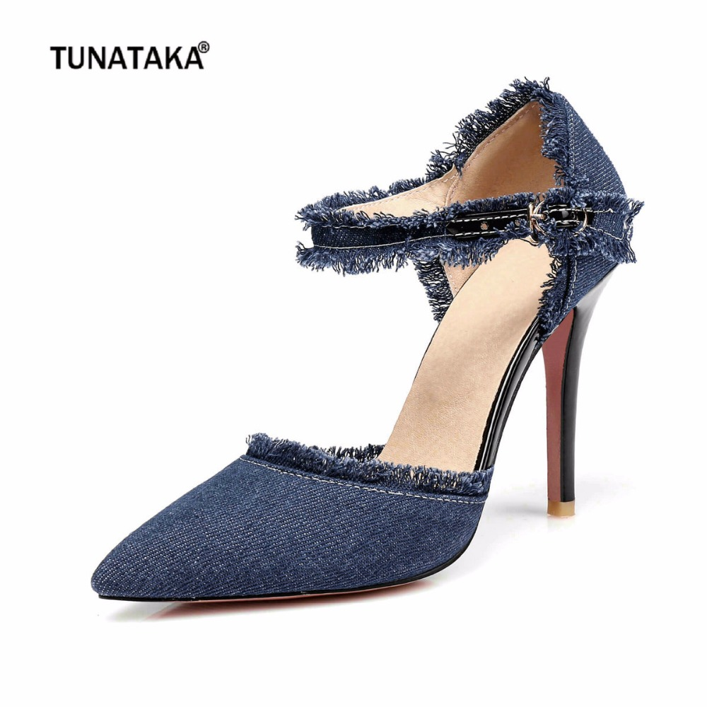 Fashion Denim Thin High Heels Women Buckle Pointed Toe Party Summer Pumps Shoes Black Navy Blue Light Blue 2017 new summer women flock party pumps high heeled shoes thin heel fashion pointed toe high quality mature low uppers yc268