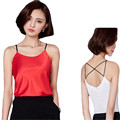 2016 Summer Halter Top Sexy Plus Size Tank Top Women Faux Silk Camiseta Tirantes Mujer Blusa Vest White Haut  MF9863472