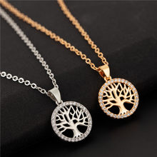 Tree of Life Necklace Women Crystal Round Pendant CZ Necklace Gold Silver Colors Bijoux Collier Elegant Women Jewelry Choker(China)
