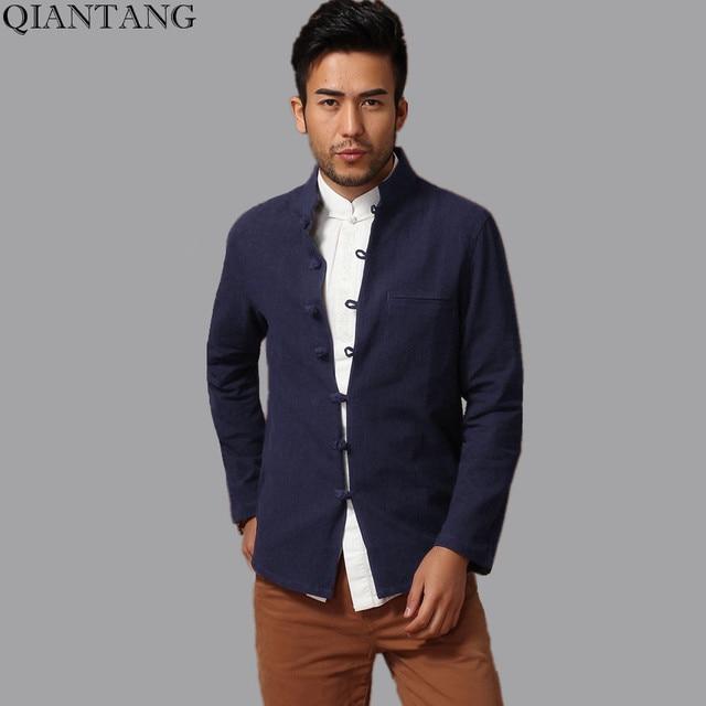 fb48f1b130de Navy Blue Traditional Chinese Handmade Men Cotton Linen Kung Fu Jacket Coat  Size S M L XL XXL XXXL hombre chaqueta abrigo Mim14A