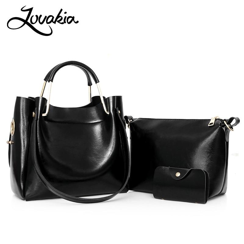 LOVAKIA New 3 Pcs/Set Oil Leather Women Handbag High Quality Solid Color Casual Female Bags Trunk Tote Spanish Shoulder Bag kuluosidi 3 pcs set women tote bag high