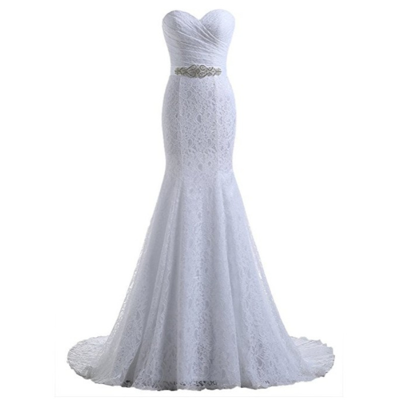 White Lace Mermaid Gown: Bridal Wedding Gown White Elegant Beautiful Lace Flowers
