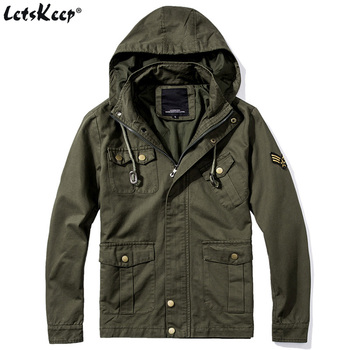 LetsKeep New Spring army bomber jacket men tactical military jacket with hood mens air force one coats plus size S-5XL, MA232
