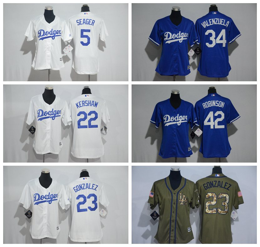 quality design f87a2 dfe74 MLB women's Los Angeles Dodgers Fernando Valenzuela Adrian Gonzalez Corey  Seager Clayton Kershaw Jackie Robinson jersey-in Baseball Jerseys from ...