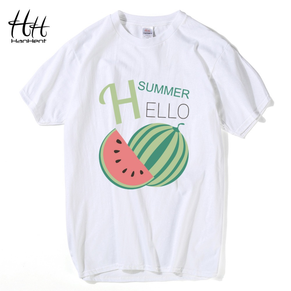 HanHent Watermelons T Shirt Man\'s Cotton Summer Funny Printed T ...
