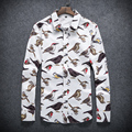2016 New Autumn Fashion Brand Slim Fit Men Long Sleeve Shirt Men Cotton Casual Shirt Social Bird Plus Size 5XL XXXXL #950