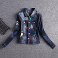 New 2017 Ladies Denim Jackets Outwear Jeans Coat Slim Short Jackets Women Fashion Jeans Coats Sequins  Female Jackets AZ625