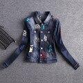 Nuevo 2017 Señoras Denim Jeans Chaquetas Outwear Coat Corta Delgada Abrigos Chaquetas Mujer Jeans Moda Lentejuelas Chaquetas Femeninas AZ625