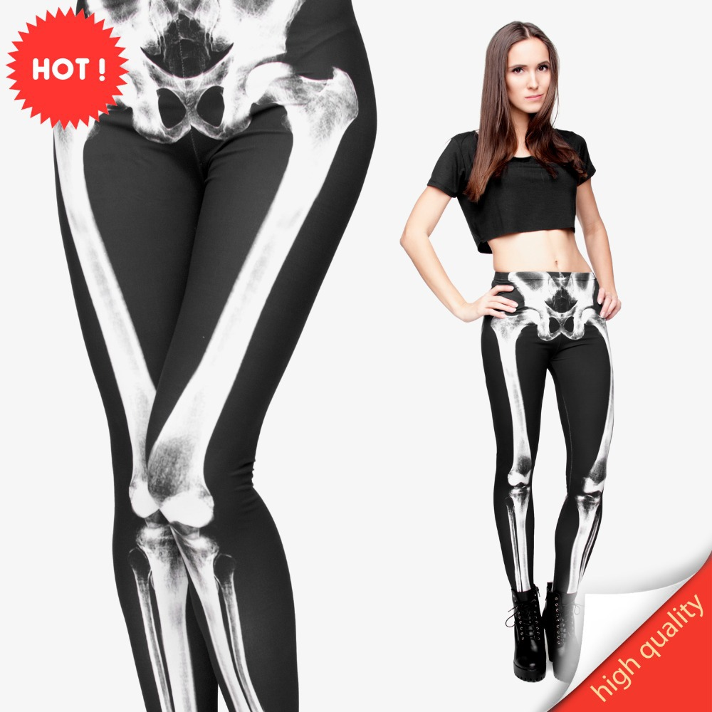 FCCEXIO New Brand 3D Printed Retro Bones Black Skeleton Sexy Women Casual Punk Rock Leggins High Waist Pants Fitness Leggings