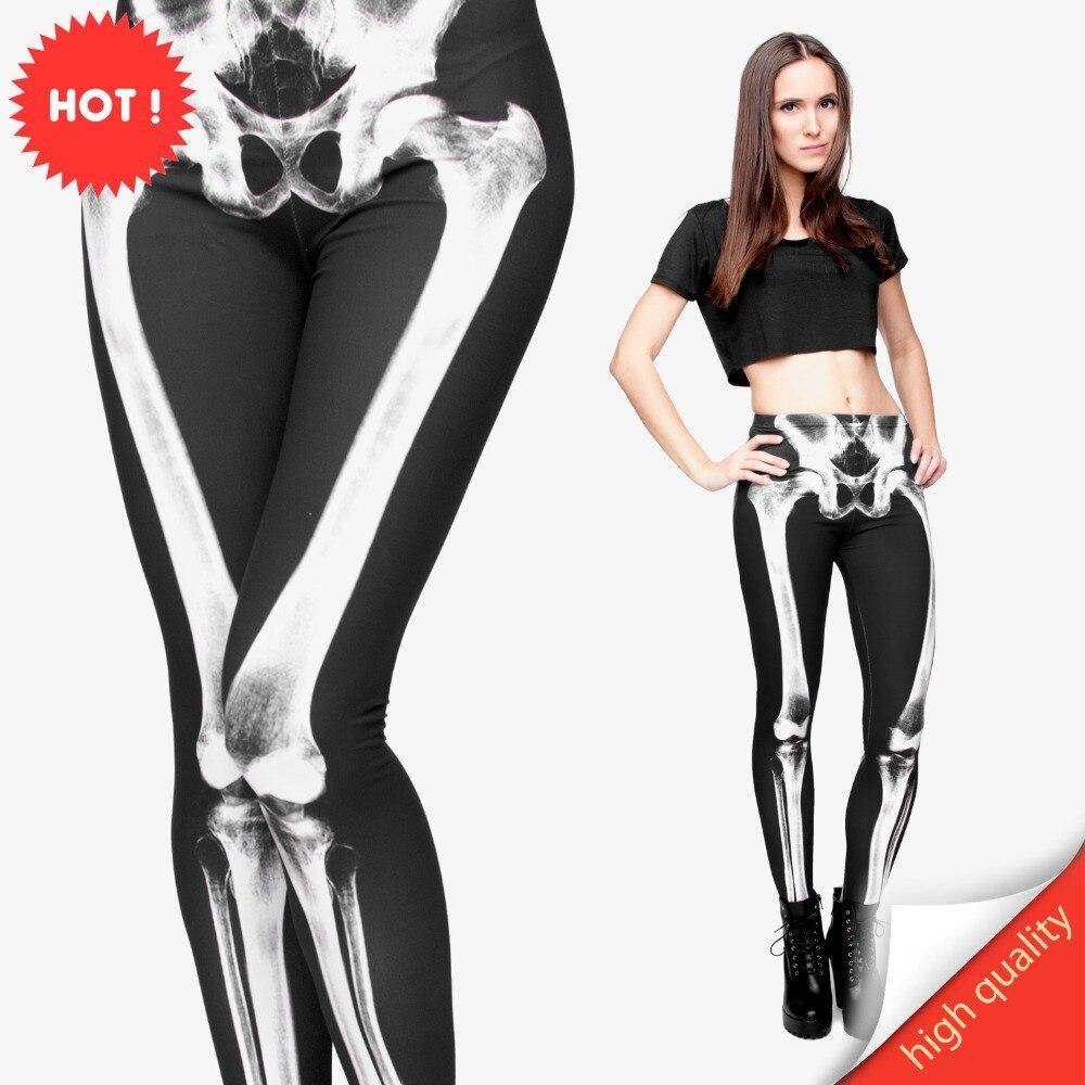 FCCEXIO New Brand 3D Printed Retro Bones Black Skeleton Sexy Women Casual Punk Rock Leggins High Waist Pants Fitness Leggings