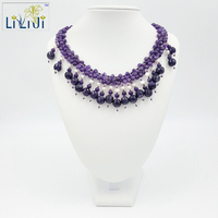 Dinner Party Series Natural Amethyst And Fresh Water Pearl Beads With Jade Toggle Clasp Necklace Free