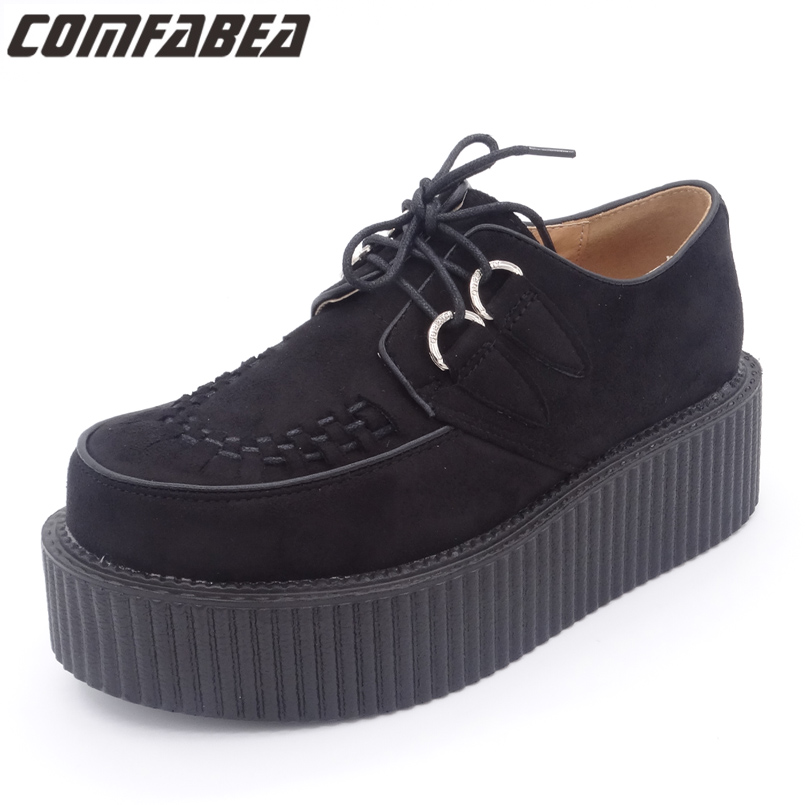 2018 Spring Autumn Shoes Woman Classic Black Suede Lace Up Punk Goth Platform Shoes Flats Creeper Shoes Women HARAJUKU Creepers igu sneakers women genuine leather shoes females platform shoes ladies flats harajuku punk shoes creeper girls chaussure femme