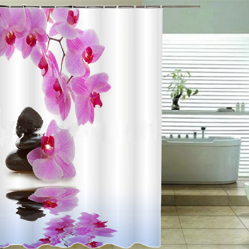 Purple Yellow Flower Design Bathroom Shower Curtains With Hooks Accessories Bath Curtain China