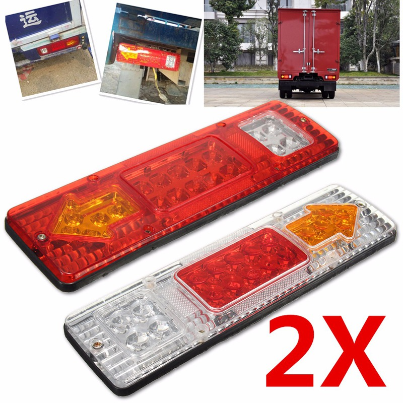 Waterproof  24v Caravan Led Trailer Tail Lights LED Rear Turn Signal Truck Trailer Lorry Stop Rear Tail Indicator Light Lamp 2pcs 20 led car truck red amber white led trailer waterproof tail lights turn signal brake light stop rear lamp dc 12v cy798 cn