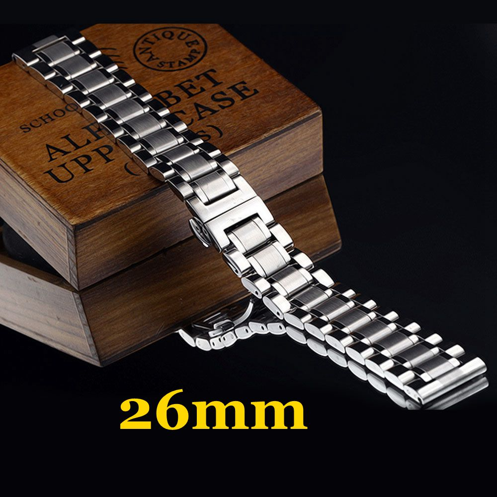 2016 New High Quality 26mm Silver Stainless Steel Men Watch Strap Band With 2 Spring Bars For Watchesde Shipping 22mm silver replacement folding clasp with safety shark mesh men watch band strap stainless steel 2 spring bars high quality
