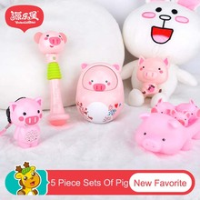 5pcs/lot Pig Family Baby Rattles Toys Tumbler Music Roly-poly Hand Bell Educational Pink Cute Kawaii Piggy Mobiles Toy Jouet H