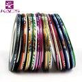 Hotsale 30 unids/lote Color Mix rollos Striping Tape hilados metálicos línea Nail Art decoración pegatina envío gratis