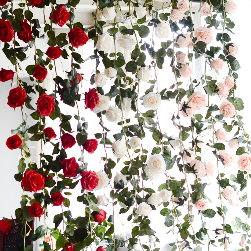 180cm artificial rose flower vine wedding decorative real touch silk 2pc 24m 11heads fake silk roses ivy vine artificial flowers with green leaves for home mightylinksfo