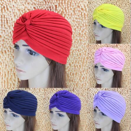 12pcs 2017 Women India Scarf Hat Retro Headband Hijab Muslim Turban Ear Cap Pleated Headwear Bandanas Head Beanies Fold Cap