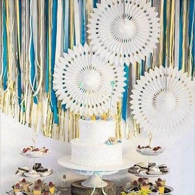 3pcs 40cm  Paper Snowflake Fans Decorations Hanging Flower Folding Bride Party Rustic Wedding Chastity Decor