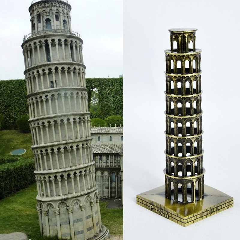 metal model leaning tower of pisa office desk decoration with nice color box packaging as nice gift for friends and lovers