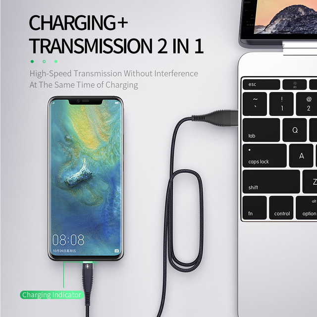 Jellico 3A LED Lighting USB Type C Cable For Samsung Xiaomi QC3 0 Fast Charging