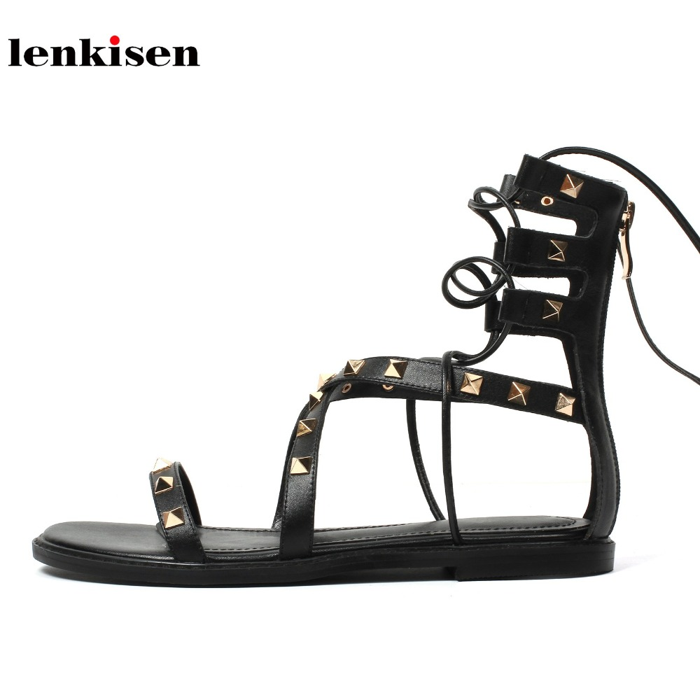 Lenkisen cow leather rivet corss tied causal simple classic style ankle lace up women sandals peep toe low heel summer shoes L29