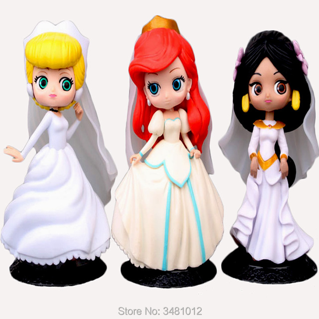 15CM Mermaid Jasmine Wedding Dress Princess Model PVC Action Figures ...