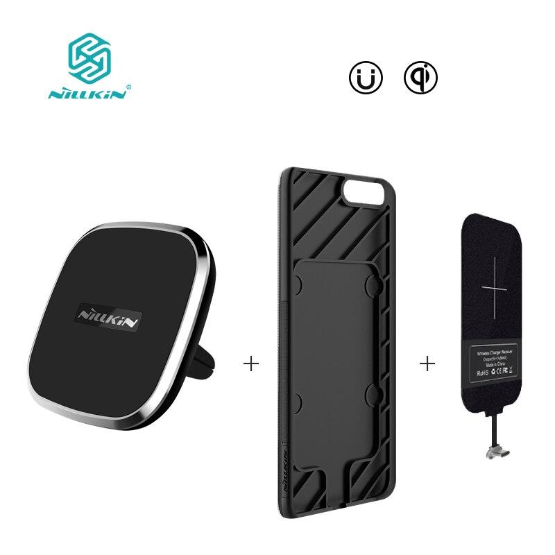NILLKIN Magnetica caso ricevitore wireless e qi wireless charger pad Portatile per uno più 5 oneplus 5 copertura Per xiaomi copertura mi6