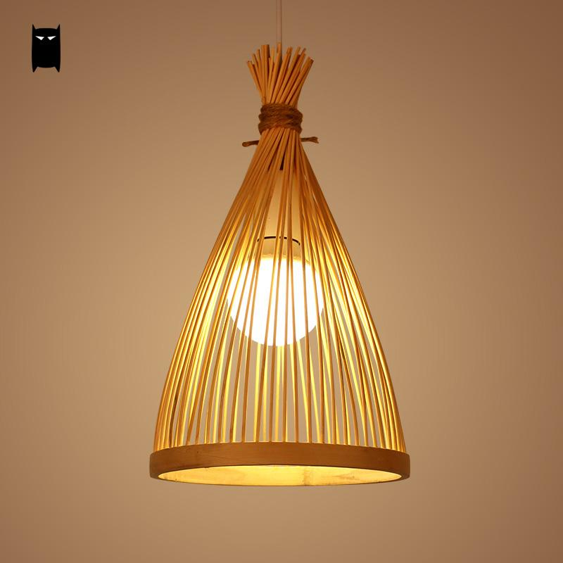 Bamboo Wicker Rattan Cage Pendant Light Fixture Asian Chinese Creative Japanese Style Lamp Suspension Luminaire Sushi Restaurant natural black bamboo wicker lampshade hat large pendant light antique chinese asian rattan hanging ceiling lamps foyer lighting