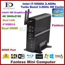 Kingdel безвентиляторный мини настольных ПК бродуэлл i7 5500U процессор Barebone Поддержка Win 10 4 К Разрешение Dual LAN HTPC HDMI Оптический