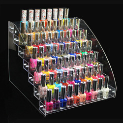 Alta qualidade unhas de acrílico exibição polonês estande 2-7 camada multi-camada de plástico transparente quadro prego exposição da loja organizador estande