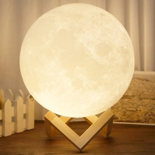 Rechargeable 3D Lights Print Moon Lamp 2 Color Change Touch Switch Bedroom Bookcase Usb Led Night Light Home Decor Creative Gift lumiparty rechargeable 3d print moon lamp 3 color change touch switch bedroom bookcase night light home decor creative gift