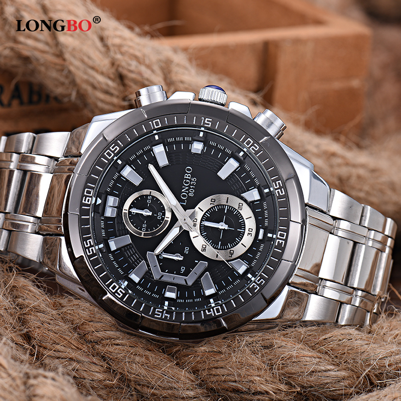 4922168ca2d LONGBO Military Men Stainless Steel Band Sports Quartz Watches Dial Clock  For Men Male Leisure Watch Relogio Masculino 80135-in Quartz Watches from  Watches ...