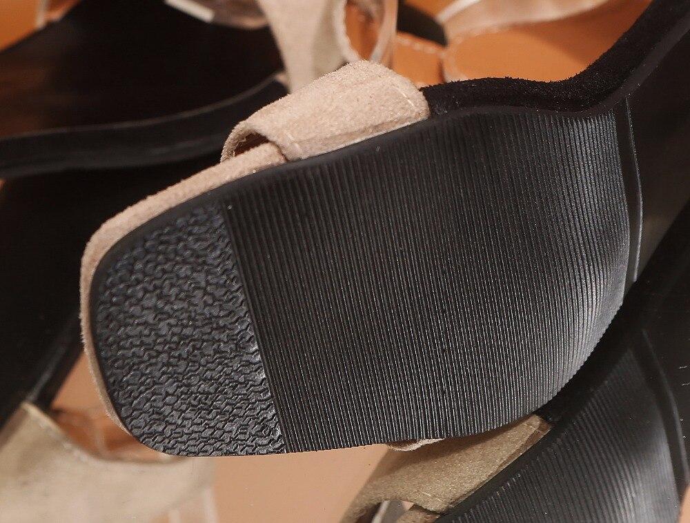 Mujeres Negro Catwalk Sandalias caqui Clásicos Colores 2 Correa Plataforma Tobillo Toe Alto M821 35 Zapatos Diario De Peep Tacón Simple Tamaño 44 wtEqR