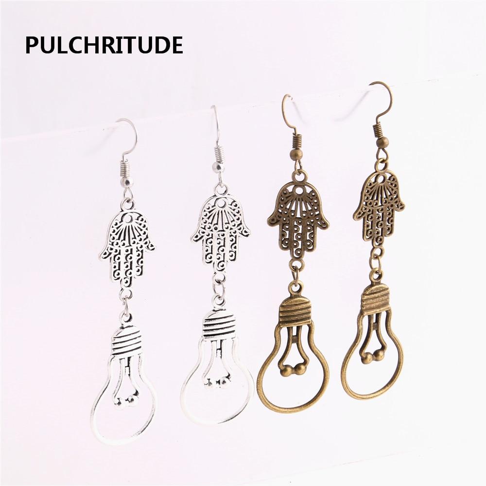 PULCHRITUDE 12pcs/lot Metal Alloy Zinc Hamsa Hand Connector lamp bulb Pendant Charm Drop Earing Diy Jewelry Making C0744