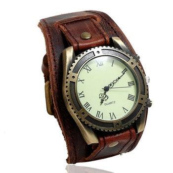 Hot Selling Vintage Cow Leather Bracelet Watch Men Women Wrist Watches Roman Numerals Casual Quartz Relogio Feminino