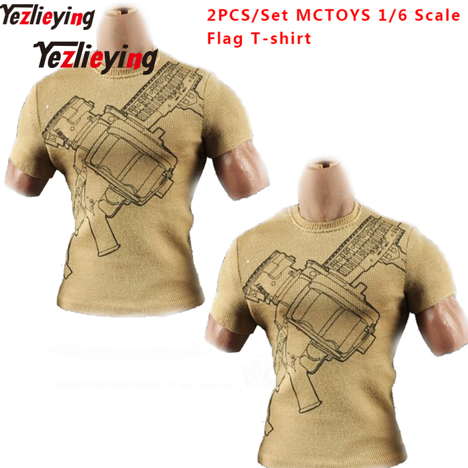 2PCS 1//6 Scale Male Outfits Long Sleeve T-shirts for 12/'/' Action Figure Toys