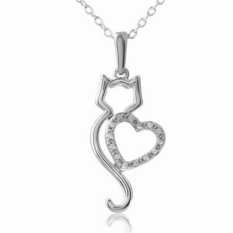 product Sweet Cat Lover Necklace Small Jewelry European Style Fashion Lovers Cat pendant best Valentine's Day & Christmas Gift Wholesale