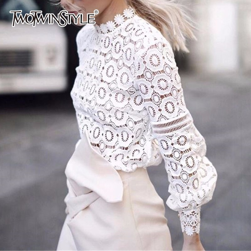 TWOTWINSTYLE Lace T Shirt Female Lantern Sleeve Floral Hollow Out Stand Collar Pullover T Shirts 2019