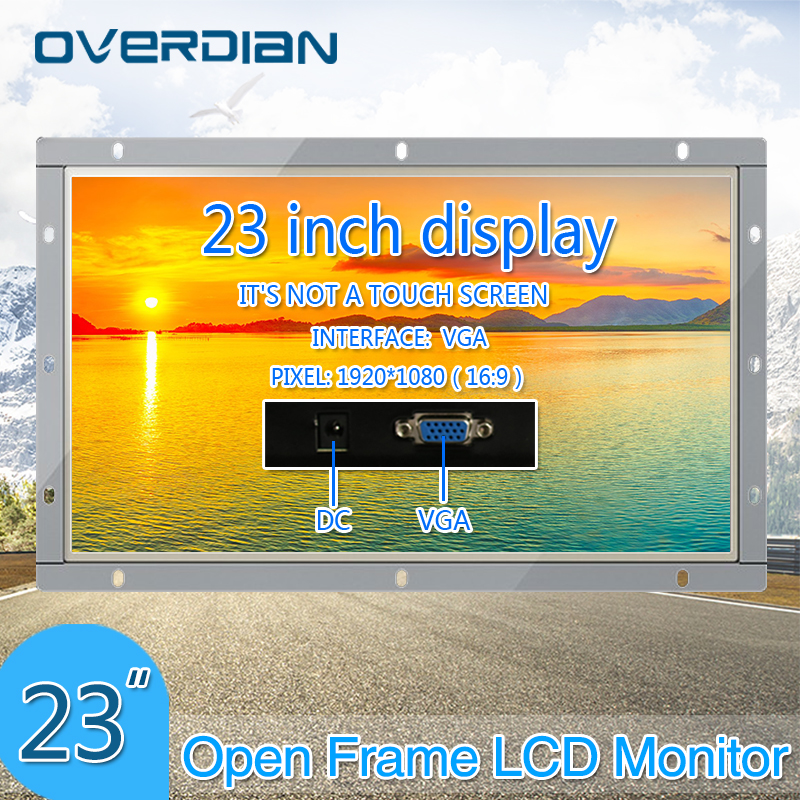 23Inch VGA Interface Industrial Monitor/Display 1920*1080 Metal Shell Non-Touch Screen PC Display Open Frame