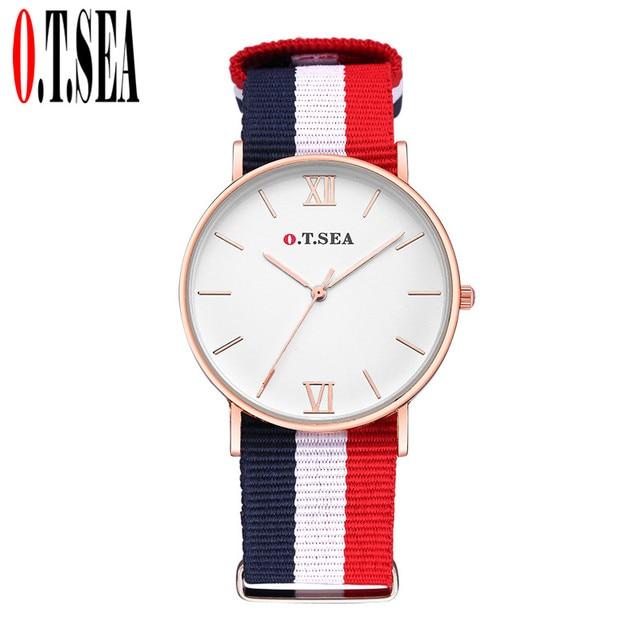 Hot Sales O.T.SEA Brand Nylon Band Watches Women Men Fashion Dress Quartz Wristw