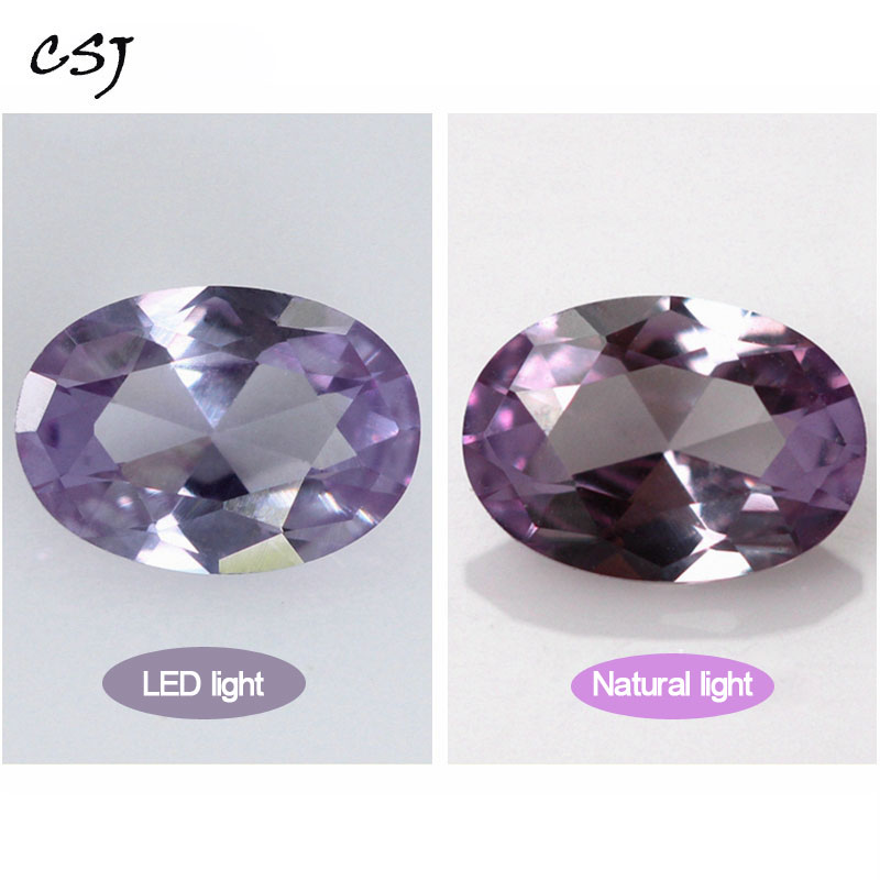 CSJ Created Alexandrite Loose Gemstone Oval Cut For Diy Jewelry 925 Silver Mounting Fine Cutting Faceted Bead Stone Color Change