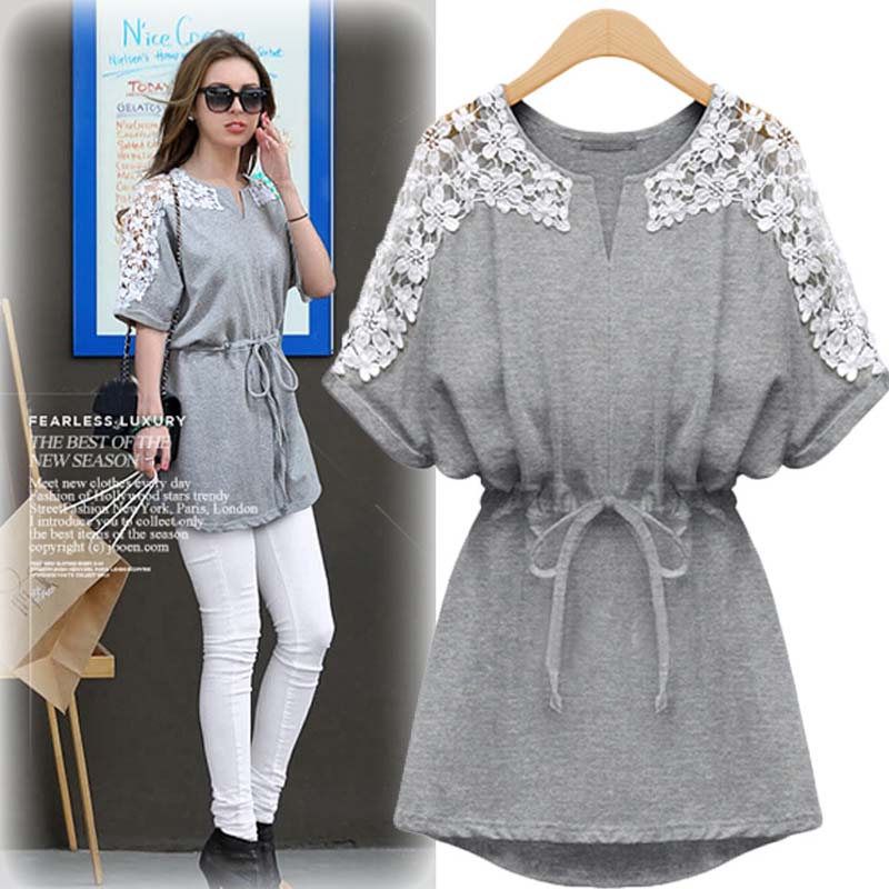 Spring section of Europe and the United States large size women's short sleeve large size hook flowers lace dress