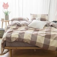 30S Pure Cotton bedding set pink green blue plaid duvet cover set fitted sheet type jogo de cama for 150cm 180cm bed SP5330