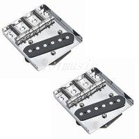 2pcs CR Vintage 3 Saddle Bridge With Pickup For Fender Tele Guitar Replacement
