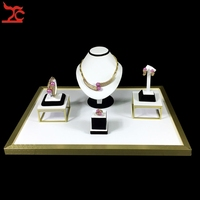 Superior Jewelry Display Kits Stainless Steel Showcase Black White PU Ring Earring Organizer Necklace Bust Stand Set 52*38*20cm