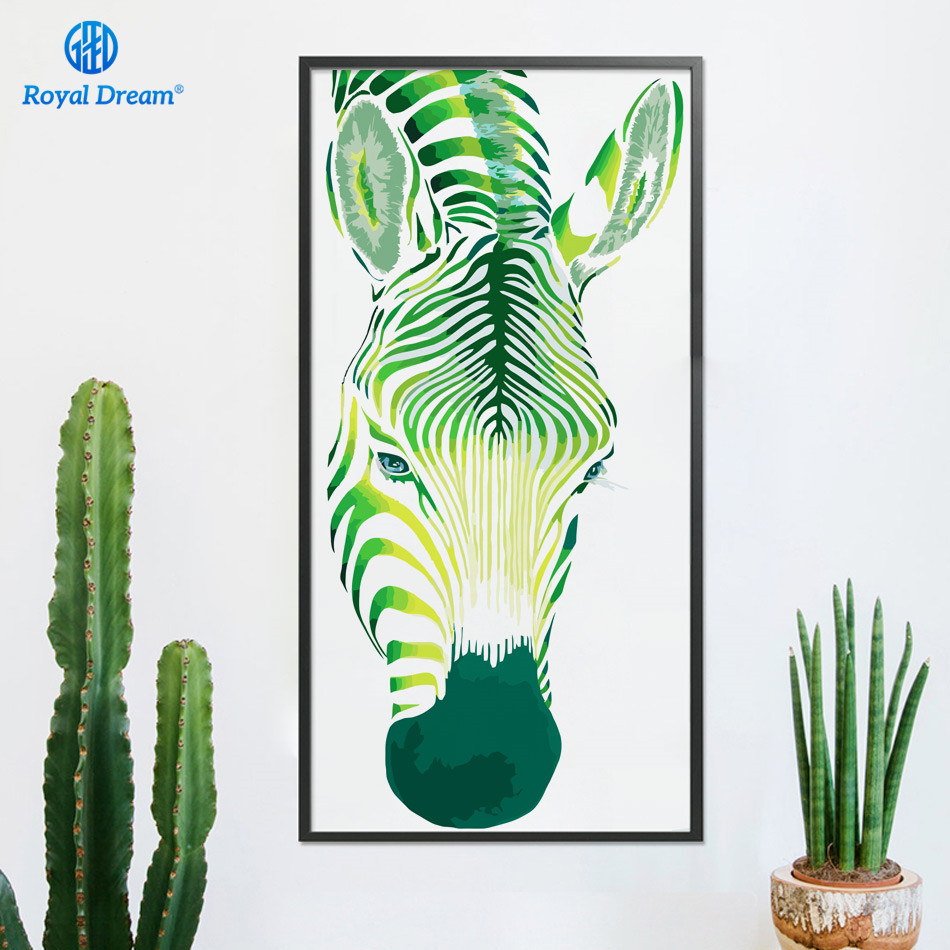 Large Oil Painting By Numbers On Canvas Green zebra Acrylic Paint By ...